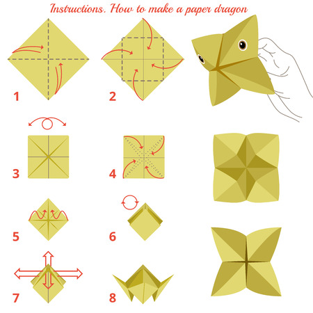 game design: Instructions how to make paper dragon. Animal tutorial step by step. Vector dragon. Educational game for kids. Visual game. Paper Animal on isolated background