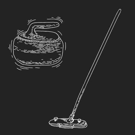 curling: Curling game element set. Winter Sport. Hand Drawing of Curling Rocks and Broom. Broom and stone for curling. Curling sport equipment vector sketch