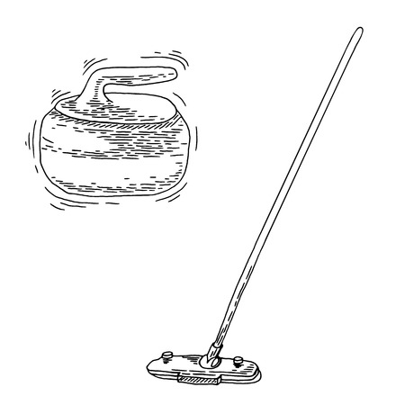 curling stone: Curling game element set. Winter Sport. Hand Drawing of Curling Rocks and Broom. Broom and stone for curling. Curling sport equipment vector sketch
