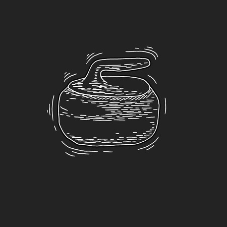 curling: Curling game element. Winter Sport. Hand Drawing of Curling Rocks. Stone for curling. Curling sport equipment vector sketch. Curling Rockson on chalkboard