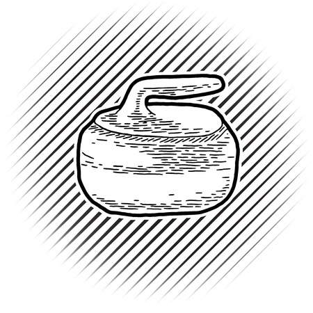 curling stone: Curling game element. Hand Drawing of Curling Rocks. Stone for curling on isolated background. Curling sport equipment vector sketch. Curling game logo