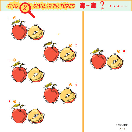 Find two similar pictures. Puzzle or picture riddle. Education matching game for preschool children. Cartoon fruit. Answer included
