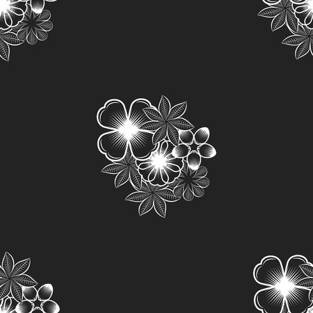 leaf illustration: Seamless wallpaper pattern with flowers. Hand drawn flower pattern. Vector pattern with flowers and plants. Vector floral background