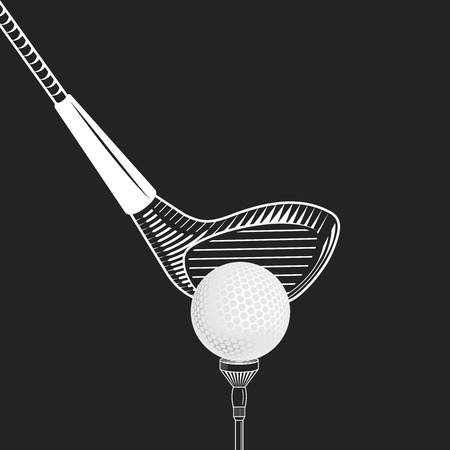 Golf design vector illustration. Golf club close up -  on black background. Vector golf club with ball. Cropped placing golf ball 向量圖像