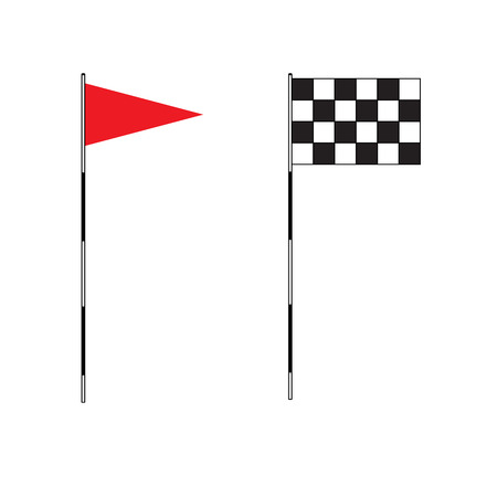 golf: Golf equipment on isolated background. Red golf flag. Flags of the golf course. Illustration on white background. Checkered Golf flags. Different flags for golf Illustration