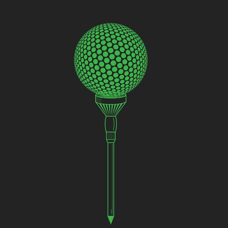 golf  ball: Pelota de golf en camiseta realista ilustración vectorial. Vector pelota de golf en negro. Golf tee del estilo de grabado con la pelota