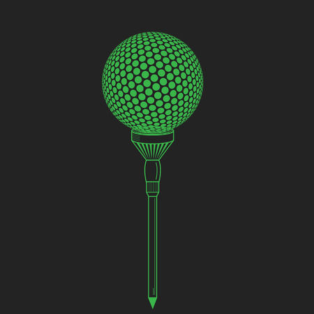 Golf ball on tee realistic vector illustration. Vector golf ball on black. Golf tee of Engraving style with ball Illustration