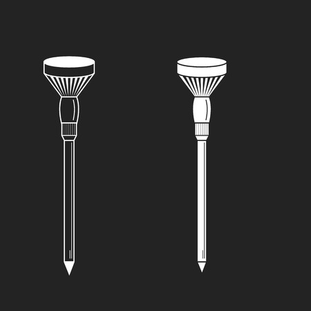 golf tee: Golf tees. Vector. Golf tee illustration of engraving style. On black background