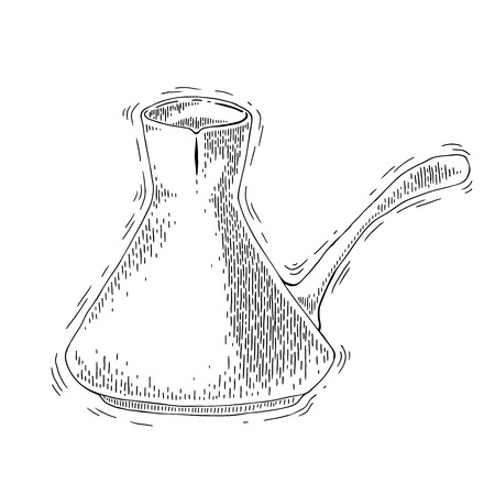 coffee maker: Utensilios de caf�. Cafetera boceto ilustraci�n. Caf� turco un estilo de grabado. Cafetera para la elaboraci�n de la cerveza de caf� cl�sico tradicional. Cafetera vector en el fondo aislado Vectores