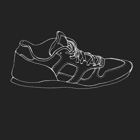icono deportes: Gráfico de la mano corriendo símbolo zapato del deporte, icono. Zapatillas de deporte de fitness de boceto. Templet zapatilla de deporte blanco. Diseño original. Vector zapatilla de deporte aislado en la pizarra