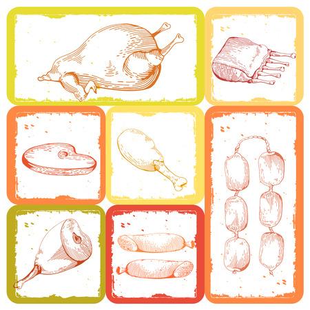 spare ribs: Chicken Gammon, Ribs, Sausage, Steaks. Vintage Hand drawn sketch of ham.