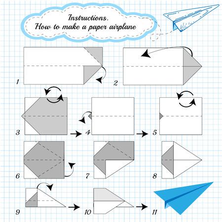 instrucciones: Avi�n de papel tutorial paso a paso. Vectores