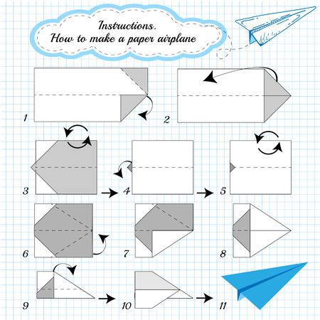 Paper plane tutorial step by step.