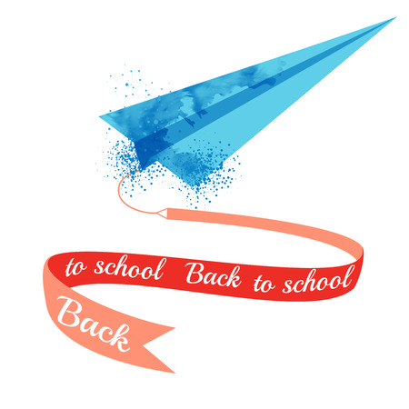 back: Watercolor paper airplane with text Back to school on ribbon.