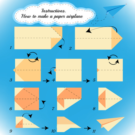 mental object: Paper plane tutorial step by step.