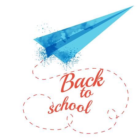 scuola: Acquerello aeroplano di carta con il testo Ritorno a scuola sul nastro. Vettoriali