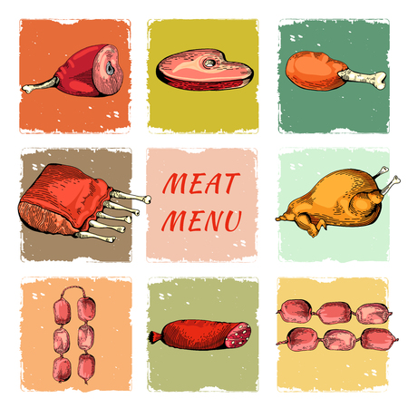 pork rib: Vintage Hand drawn sketch of ham.  Illustration