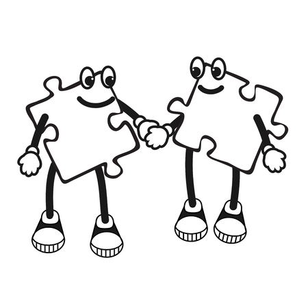 two children: Vector Illustration of Cartoon puzzle character.  Illustration