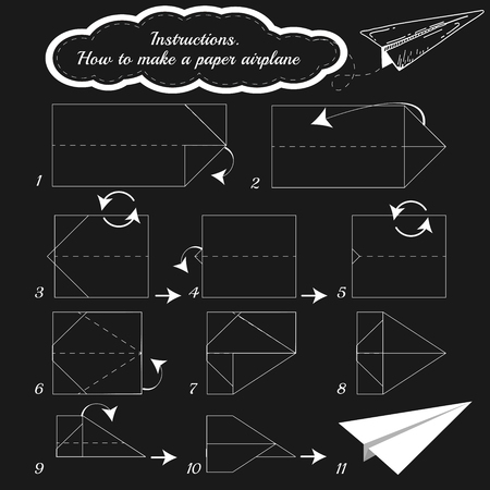 paper airplane: Paper plane tutorial step by step. Illustration