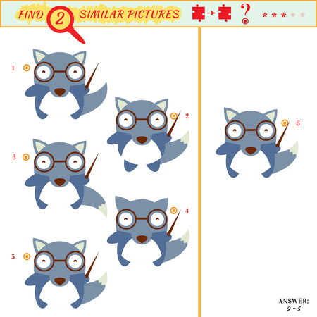 similar: Game puzzles find similar image between two.  Illustration