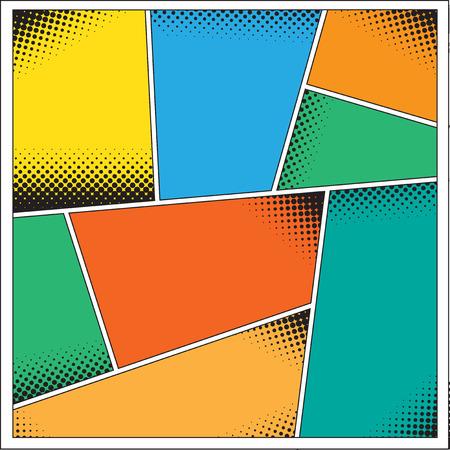 Comics pop art style blank layout template background illustration.  Vettoriali
