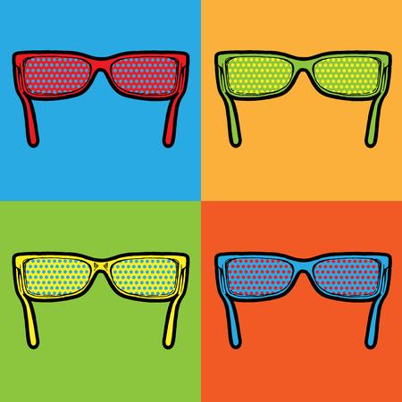 Sonnenbrille im Pop-Art-Art-Mode-Illustration Lichtenstein Standard-Bild - 45031149