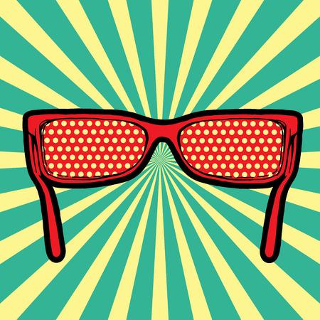 rt: Sunglasses in Pop-Art Style Fashion illustration in Lichtenstein  Illustration
