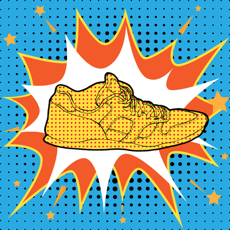 warhol: Sneakers in Pop-Art Style Fashion illustration in Lichtenstein