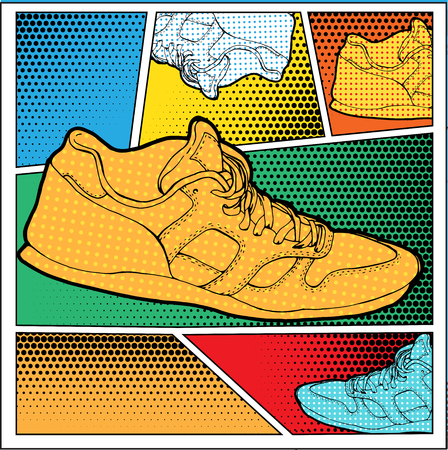 Sneakers in Pop-Art Style Fashion illustration in Lichtenstein
