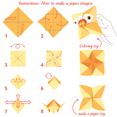 to make: Instructions how to make paper bird. Origami tutorial step by step. Vector toy. Educational game for kids. Visual game. Paper parrot on isolated background
