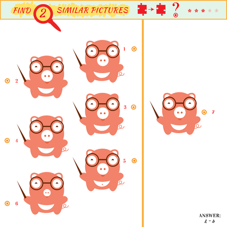 similar: Game puzzles find similar image between two. Education matching game for preschool children. Visual puzzle game for kid. Quiz game. Cartoon pig Illustration