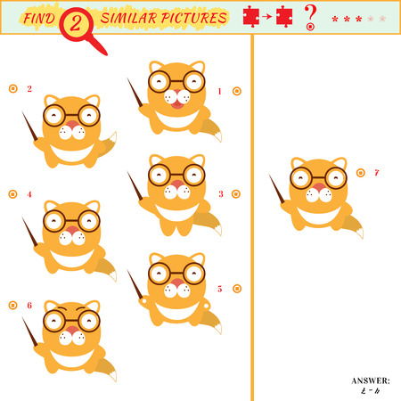 similar: Game puzzles find similar image between two. Education matching game for preschool children. Visual puzzle game for kid. Quiz game. Cartoon cat