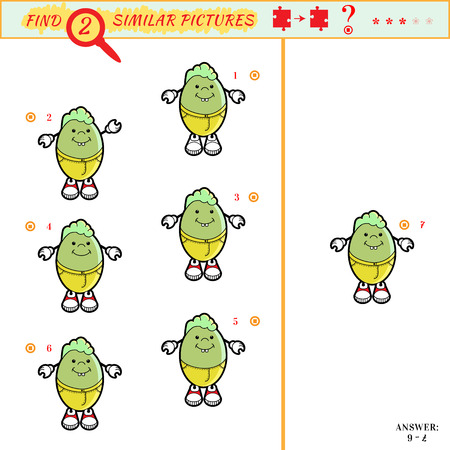 similar: Game puzzles find similar image between two. Education matching game for preschool children. Visual puzzle game for kid. Quiz game. Cartoon kid Illustration