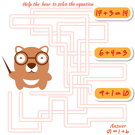 Funny maze game for kids. Visual game for preschool children. Maze puzzle with solution. Vector labyrinth for preschool children with bear. Rebus or quiz for school