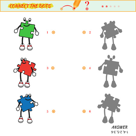 two minds: Visual game for kid. Matching applications game. Connect the dots picture. Puzzle, maze, jigsaw, quiz, rebus, game for preschool child. Cartoon baby character