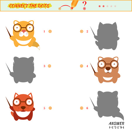 two minds: Visual game for kid. Matching applications game. Connect the dots picture. Puzzle, maze, jigsaw, quiz, rebus, game for preschool child. Cartoon cat, dog, bear,