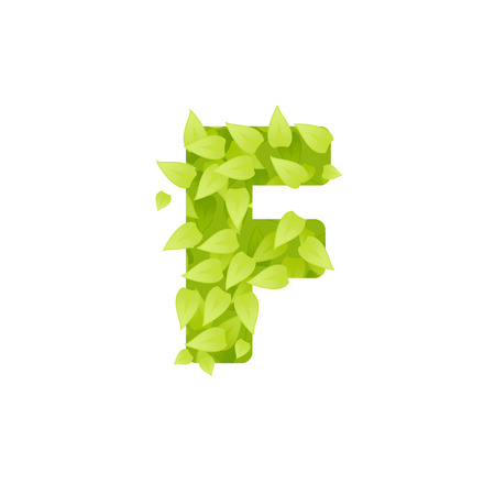 grass font: Alphabet of green grass on white background. Grass font letter. Vector illustration of letter F of green leaves. Letter of grass alphabet. Font F uppercase  with grass texture