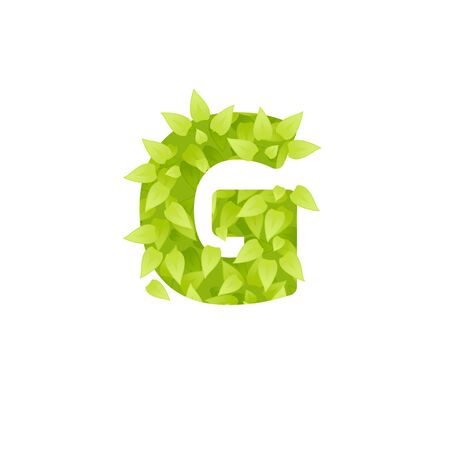 grass font: Alphabet of green grass on white background. Grass font letter. Vector illustration of letter G of green leaves. Lettering of grass alphabet. Typography font with grass texture Illustration