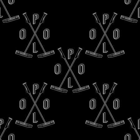 equestrian sport: Vector polo seamless pattern. Pattern with polo element on chalkboard background. Polo seamless backdrop. Polo stick logo pattern. Equestrian sport background with calligraphy