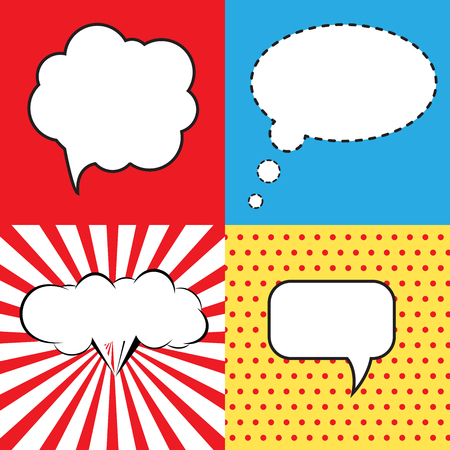 Sprechblase im Pop-Art-Stil. Lichtenstein Pop-Art. Sprechblasen in Pop-Art-Stil. Pop-Art Comic-Hintergrund mit Platz für coments. Andy Warhol Pop-Art- Standard-Bild - 46343413
