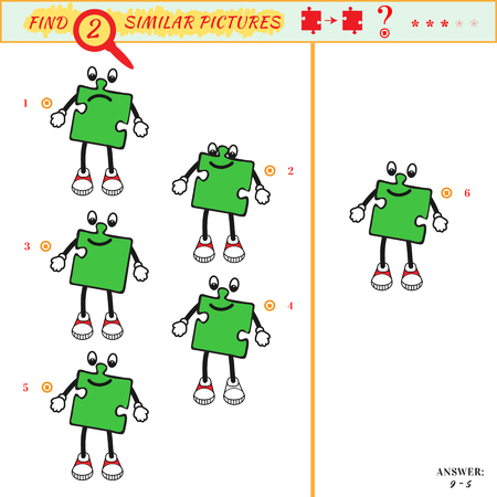 similar: Game puzzles find similar image between two. Education matching game for preschool children. Visual puzzle game for kid. Quiz game. Cartoon kid character