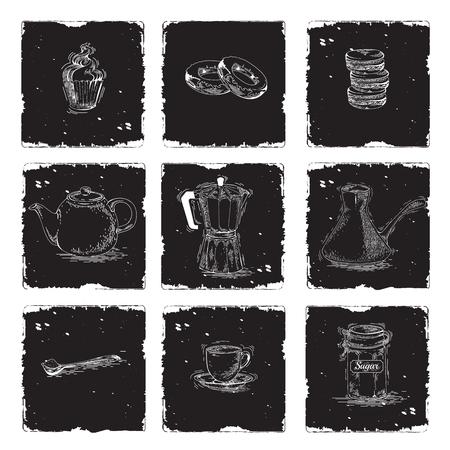 black coffee: Coffee and tea set. Teapot, moka pot, coffee maker, cups, spoon, sugar bowl hand drawn of chalk on blackboard. Black and white image of kitchen utensils for cafe menu