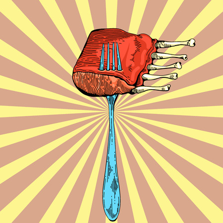poster art: Beef rib illustration in pop art style. Menu for restaurant or cafe. Rib roast grilled. Vector barbecue vintage poster. Meat in pop art comic style. Cooked meal hand drawn image