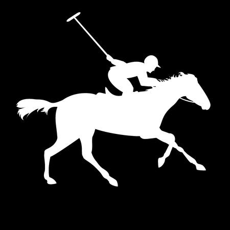 Polo-Spieler auf weißem Hintergrund. Pferdepolo Silhouetten. Polo-Spiel. Silhouette von einem Polospieler mit Pferd. Bunte Pferd mit Reiter und Jockeys. Reitsport Standard-Bild - 46343478