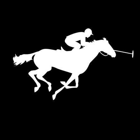 Polo-Spieler auf weißem Hintergrund. Pferdepolo Silhouetten. Polo-Spiel. Silhouette von einem Polospieler mit Pferd. Bunte Pferd mit Reiter und Jockeys. Reitsport Standard-Bild - 46343479