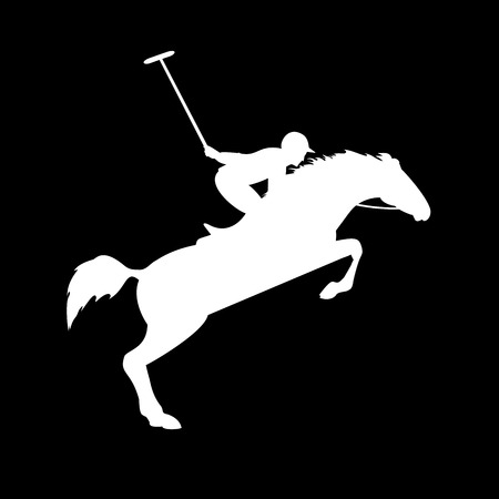 Polo player on isolated background. Horse polo silhouettes. Polo game. Silhouette of a polo player with horse. Colorful horse with rider or jockey. Equestrian sport Ilustrace
