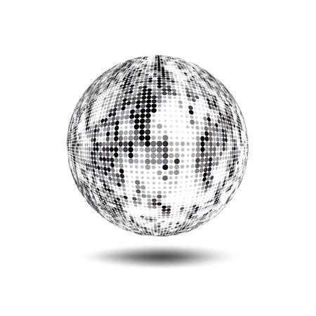 Disco ball sfondo. Vettore d'argento discoteca palla su uno sfondo bianco. Vector abstract globo tratteggiata. Scienza e tecnologia, turismo, finanziarie o di sfondo ambientale Vettoriali