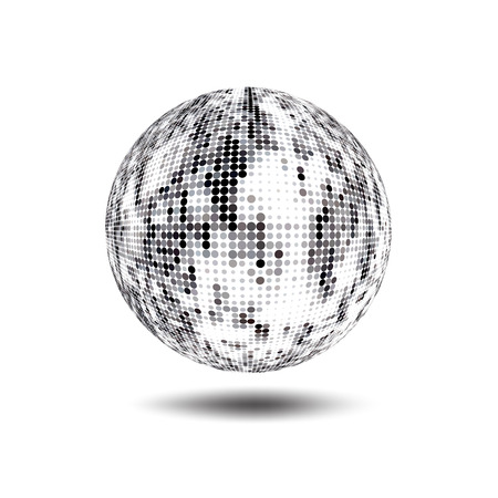 Disco ball background. Vector Silver disco ball on a white background. Vector abstract dotted globe. Science and technology, tourism, financial or environmental background Illustration