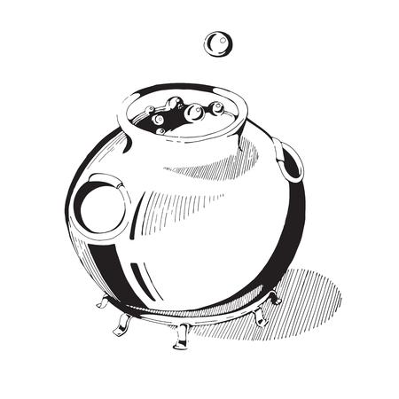 bruja: Ilustración del vector del caldero de una bruja. caldero de la bruja con la poción aislado sobre fondo blanco. Dibujado a mano caldero de la bruja de Halloween. El caldero de la bruja en el estilo gráfico