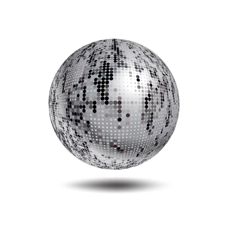 mirror ball: Disco ball background. Vector Silver disco ball on a white background. Vector abstract dotted globe. Science and technology, tourism, financial or environmental background Illustration